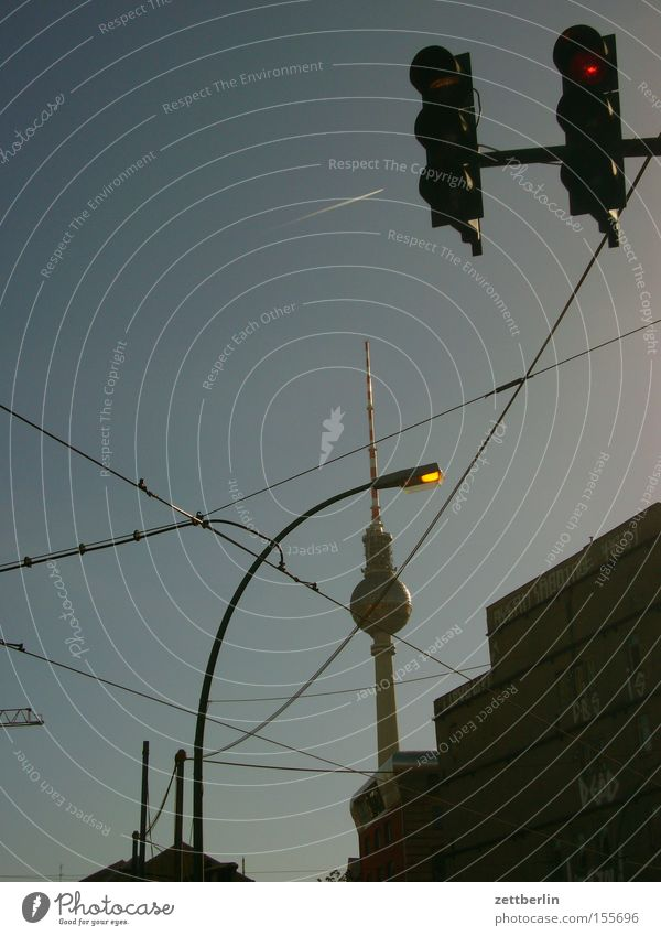 Sky Far-off places Berlin Lake Electricity Cable Tower Monument Landmark Traffic light