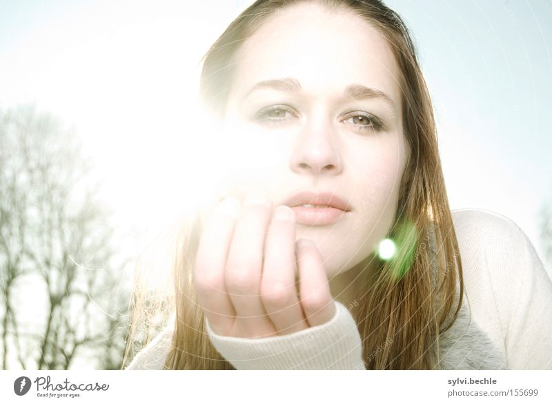 in the light I Beautiful Hair and hairstyles Sun Winter Woman Adults Eyes Mouth Hand Nature Cloudless sky Tree Field Breathe Observe Touch Expectation Cold