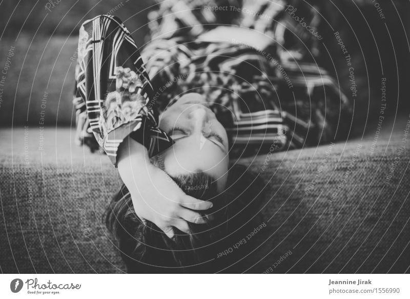 Sofa with woman Style Flat (apartment) Feminine Head Hand Fashion Dress Lie Sleep Dream Passion Caution Sadness Fatigue Longing Loneliness Elegant Relaxation