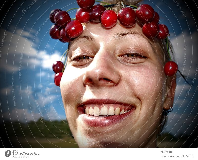 Cherry, Cherry Lady Wreath Fruit Sweet Laughter Grinning Brash Fruity Cheek Mouth Joy Youth (Young adults)