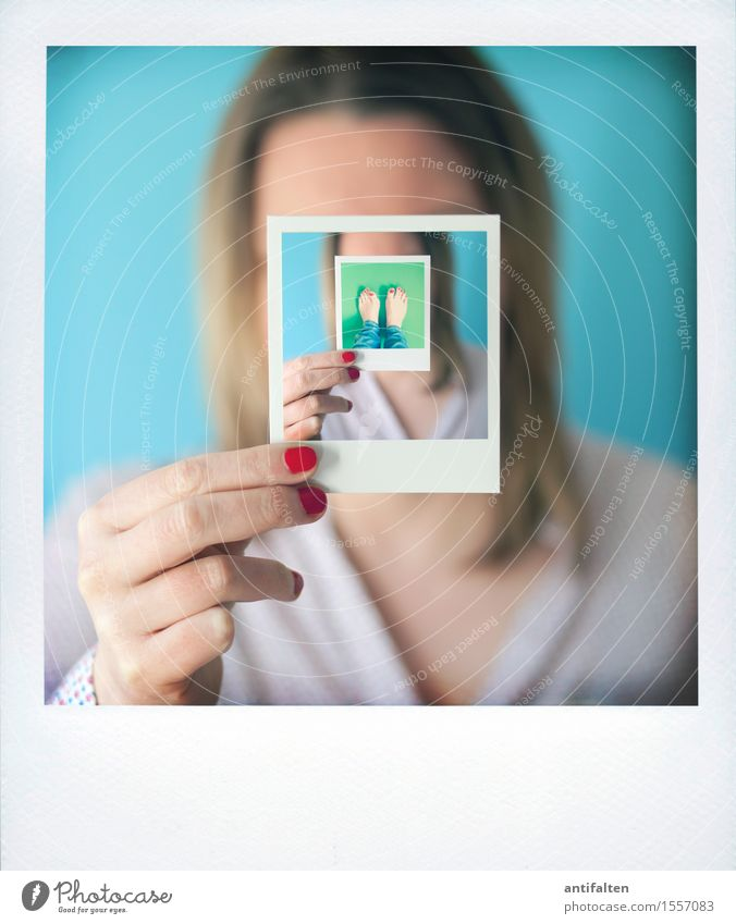 Remix | derinderinderinderin Feminine Woman Adults Life Head Hair and hairstyles Hand Fingers 1 Human being 30 - 45 years Polaroid Blouse Blonde Long-haired