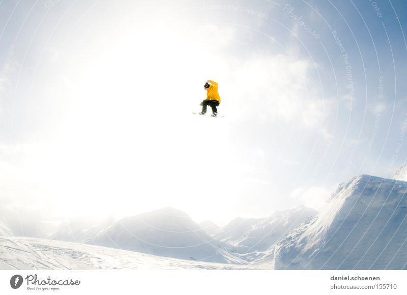 Clouds Joy Winter Mountain Yellow Snow Style Bright Jump Action Tall Snowcapped peak Brave Snowscape Snowboard Flashy