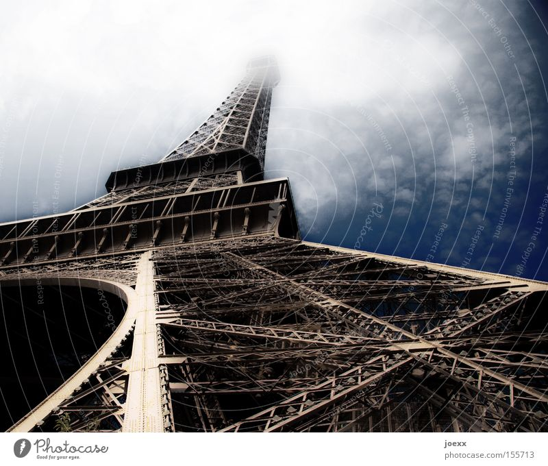 Historic skyscraper Old Monument Eiffel Tower France Scaffolding Sky Paris Perspective Landmark World exposition Clouds High-rise alexandre gustave eiffel