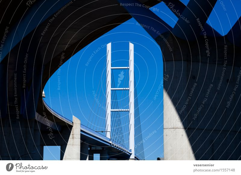 Ruegen Bridge Stralsund Germany Rügen Architecture Elegant Tall Strong Blue Trust Conscientiously Stress Vacation & Travel Accuracy Competent Mobility