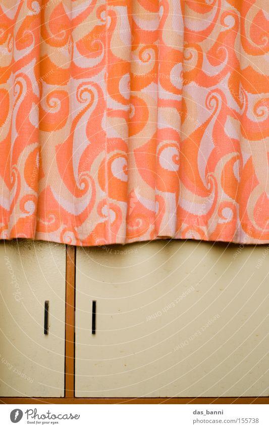 Eastern Romanticism Drape Cupboard Wood Cloth Modern Considerable Line Geometry Brown Orange Pattern Minimalistic Division Seventies Design Household Furniture