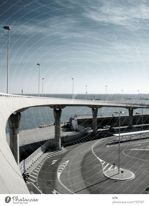 Ocean Blue Cold Gray Watercraft Architecture Concrete Empty Bridge Asphalt Harbour Lantern Traffic infrastructure Parking lot