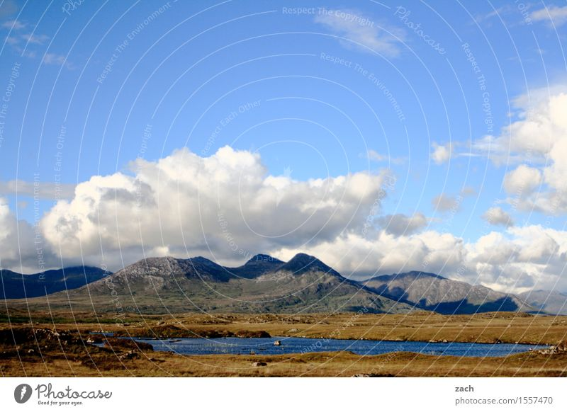 Silent Land Environment Landscape Earth Water Sky Clouds Beautiful weather Grass Moss Meadow Field Hill Mountain maumturk mountains Lakeside Pond Connemara