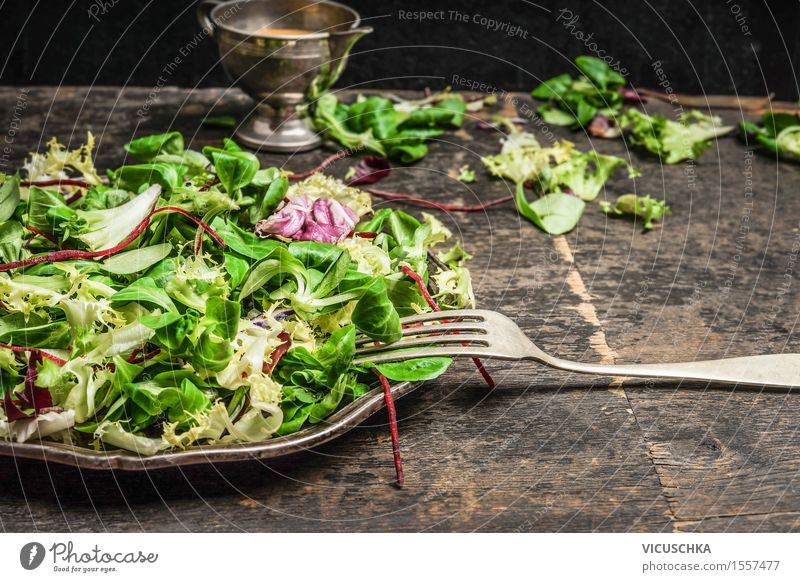 Green salad and dressing Food Vegetable Lettuce Salad Herbs and spices Cooking oil Nutrition Lunch Dinner Buffet Brunch Organic produce Vegetarian diet Diet