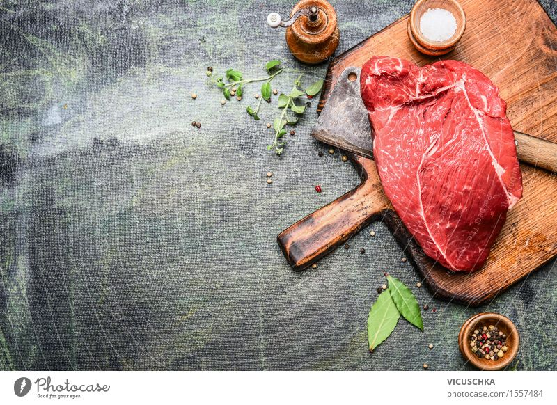 piece of excellent meat with herbs and spices Food Meat Herbs and spices Nutrition Lunch Dinner Buffet Brunch Banquet Business lunch Organic produce Diet Knives