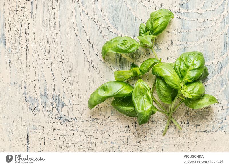 Fresh basil bundle with water drops Food Herbs and spices Nutrition Organic produce Vegetarian diet Diet Style Design Healthy Eating Life Summer Garden Table
