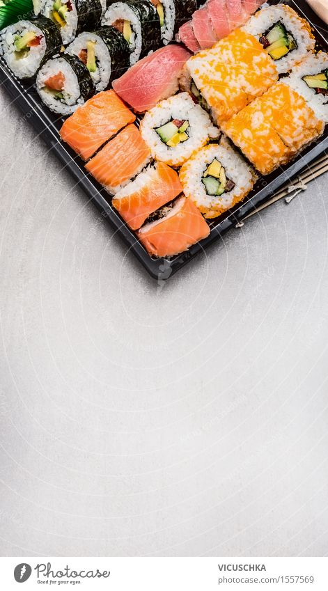 Sushi menu in transport box Fish Nutrition Lunch Dinner Buffet Brunch Banquet Organic produce Vegetarian diet Diet Style Restaurant Design Background picture