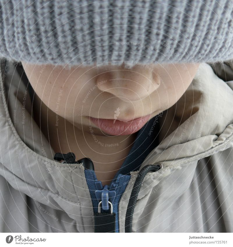 Child Youth (Young adults) Winter Cold Boy (child) Sadness Think Nose Grief Cap Jacket Freeze