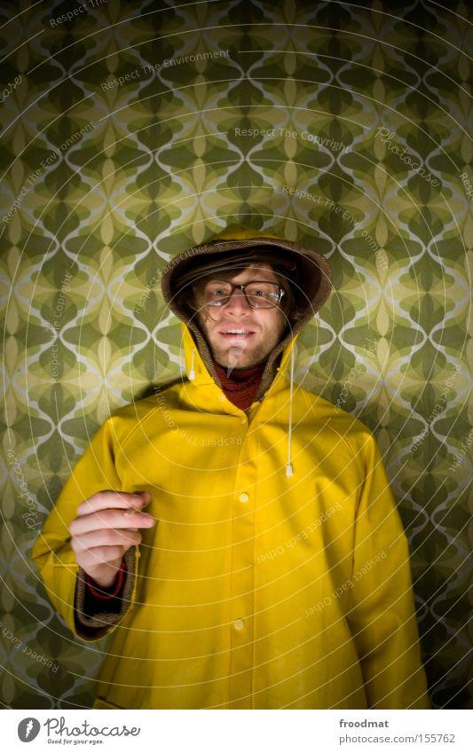 Style Design Cool (slang) Retro Smoking University & College student Transience Wallpaper Facial hair Historic GDR Freak Rain wear Raincoat