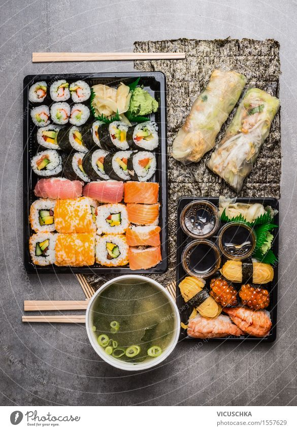 Asian menu with sushi, rice paper summer rolls and miso soup Food Fish Seafood Nutrition Lunch Dinner Buffet Brunch Banquet Organic produce Vegetarian diet