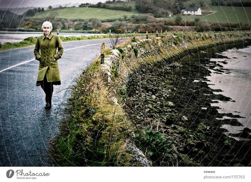 Woman Ocean Green Beach Street Cold Autumn Coast Going Bridge To go for a walk Sidewalk Footpath Ireland