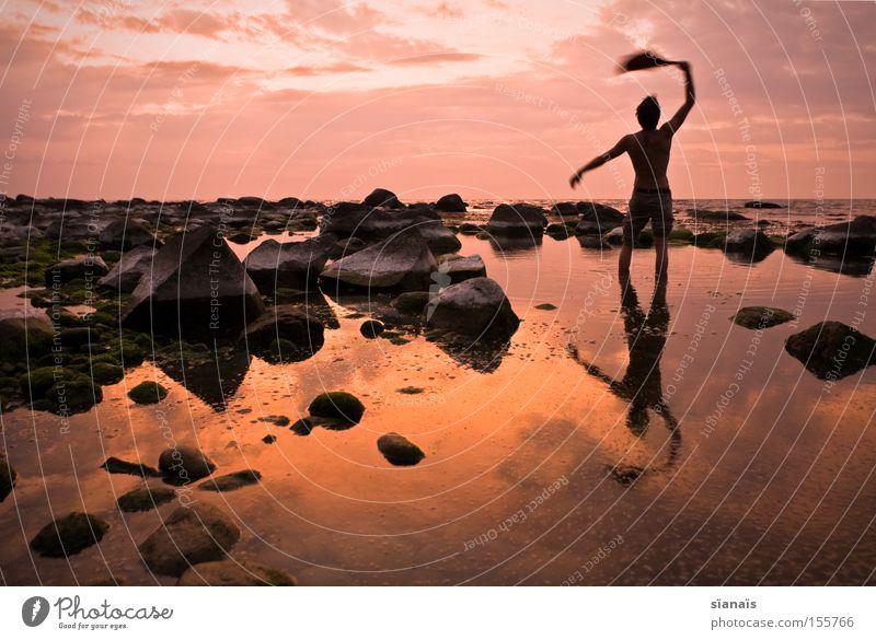 Human being Man Water Ocean Stone Mirror Goodbye Baltic Sea Wanderlust Rügen Shipwreck