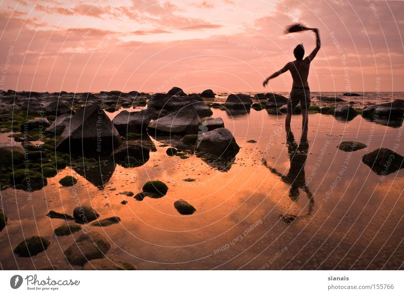 robinsonade Rügen Ocean Water Mirror Baltic Sea Silhouette Human being Sunset Twilight Stone Reflection Shipwreck Wanderlust Goodbye Man Reflection & Reflection