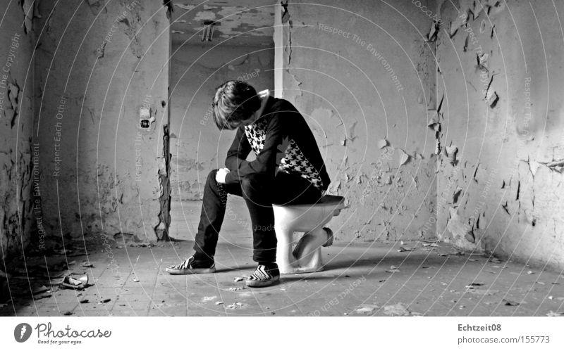 Woyzeck. Derelict Crap Self portrait Brown Obscure Youth (Young adults) woyzeck linne ez ez08 real time realtime08 Toilet shit Posture Seating Splash