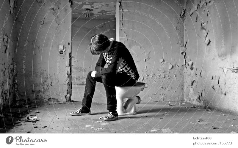 Youth (Young adults) Brown Posture Derelict Toilet Obscure Seating Self portrait Splash Crap
