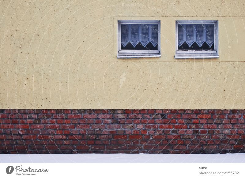 twins Snow House (Residential Structure) Wall (barrier) Wall (building) Facade Window Brick Old Simple Cold Gloomy Curtain Plaster In pairs Colour photo