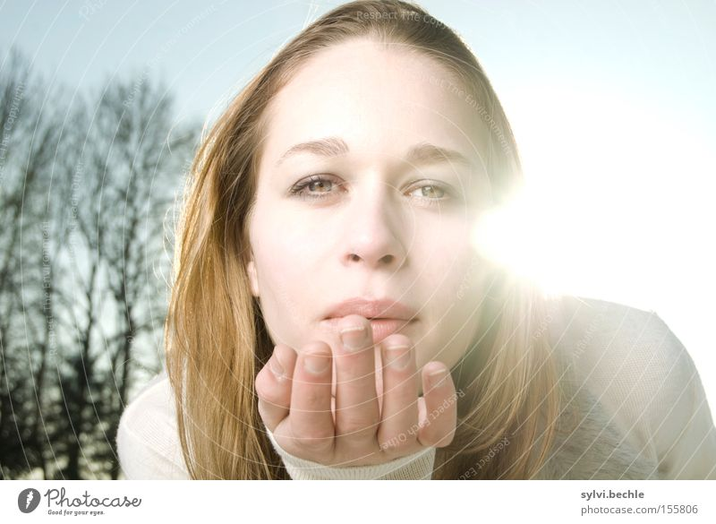 Woman Nature Hand Beautiful Tree Sun Summer Winter Love Snow Mouth Lighting Blonde Adults Romance Kissing