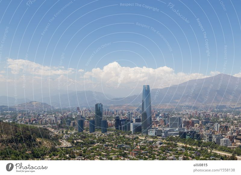 Panoramic view of Santiago de Chile Vacation & Travel Tourism Mountain Landscape Sky Town Skyline Building Architecture Tall Modern Fight bull panoramic