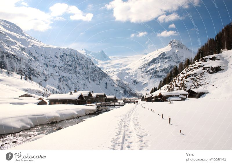 another winter picture Landscape Sky Clouds Winter Beautiful weather Snow Rock Alps Mountain Peak Snowcapped peak River House (Residential Structure) Hut Hiking