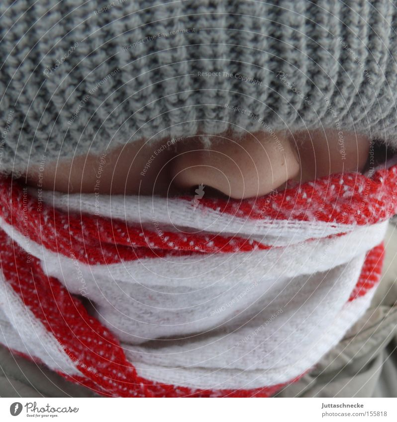 Child Youth (Young adults) Winter Cold Boy (child) Nose Cap Scarf Tip of the nose
