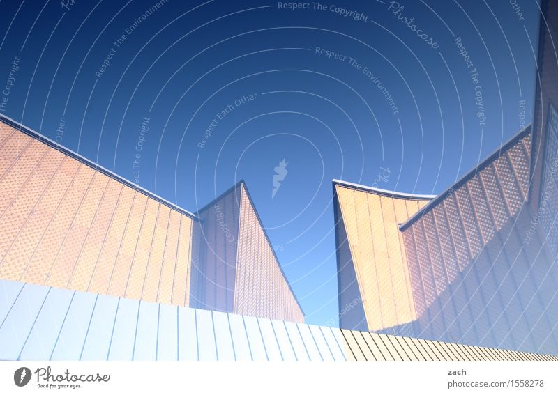 Sky City Blue Yellow Architecture Berlin Art Facade Music Manmade structures Landmark Capital city Downtown Tourist Attraction Sharp-edged Double exposure