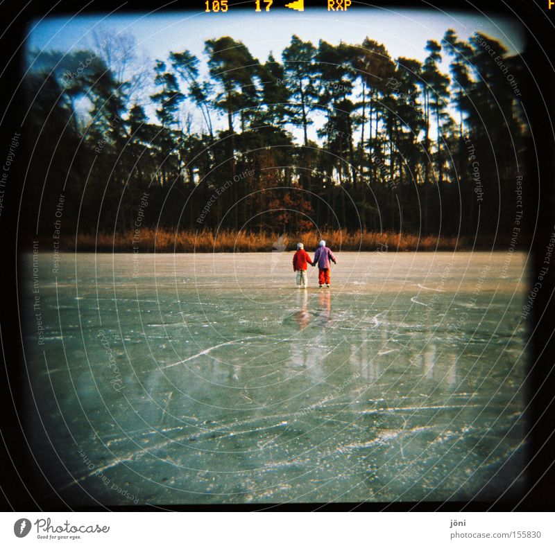 Ice cream lovers (2) Ice-skates Winter Tree Forest Lake Friendship Together Reflection Tracks Joy Leisure and hobbies Smoothness Holga Winter sports Playing