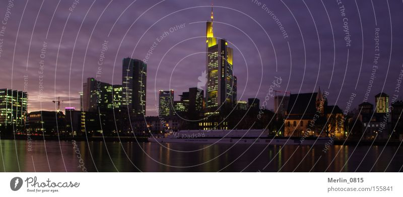 Lighting Architecture High-rise River Bank building Tower Financial institution Night Skyline Frankfurt Main Hesse Office building