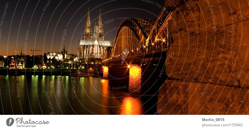 trapezoidal perspectives Cologne Dome Railway bridge Rhine Architecture Landmark Skyline Twilight Night Lighting Monument