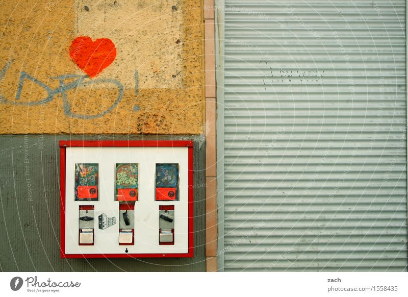 investment opportunity Candy Chewing gum Child Town Downtown House (Residential Structure) Wall (barrier) Wall (building) Facade Graffiti Heart Line Retro Gray