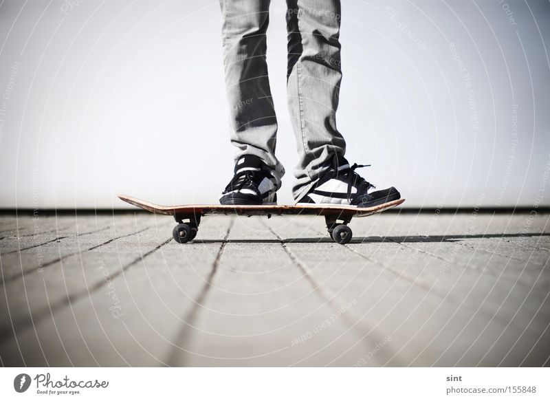 zwischenstop Funsport Leisure and hobbies Sports Playing Skateboard skateboarder Sneakers schuhe rollen pause beton jugend spass freizeit ausruhen skaten