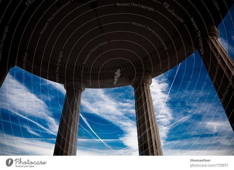 Sky Blue Clouds Far-off places Future Vantage point Munich Part Column Temple Sublime House of worship Cage Bavaria Vapor trail Pavilion