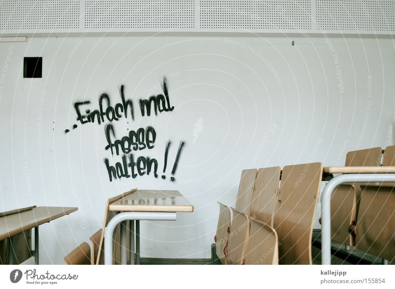 Wall (building) Graffiti Lecture hall School Germany Academic studies Chair Education Bench Study or Survey Wisdom Figure of speech Classroom High School