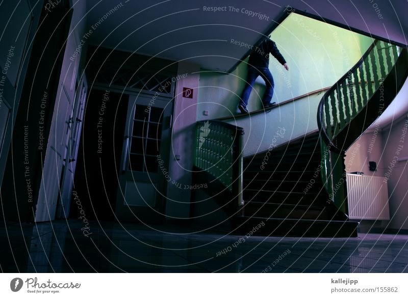 Human being Man Green Architecture Contentment Pink Stairs Dangerous Threat Handrail Banister Staircase (Hallway) Bridge railing Upward Ghosts & Spectres  Go up