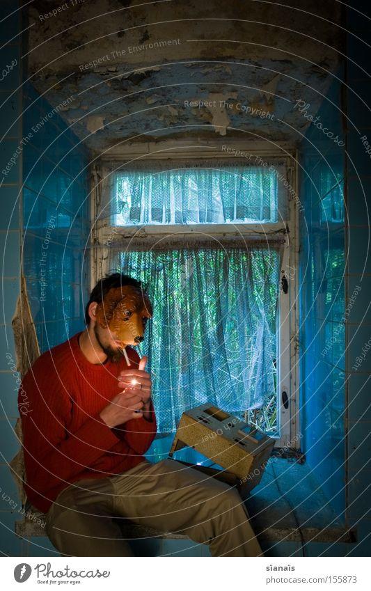 Man Window Dog Sit Break Smoking Mask Tile Derelict Obscure Cigarette Decline Stupid Surrealism Freak Curtain