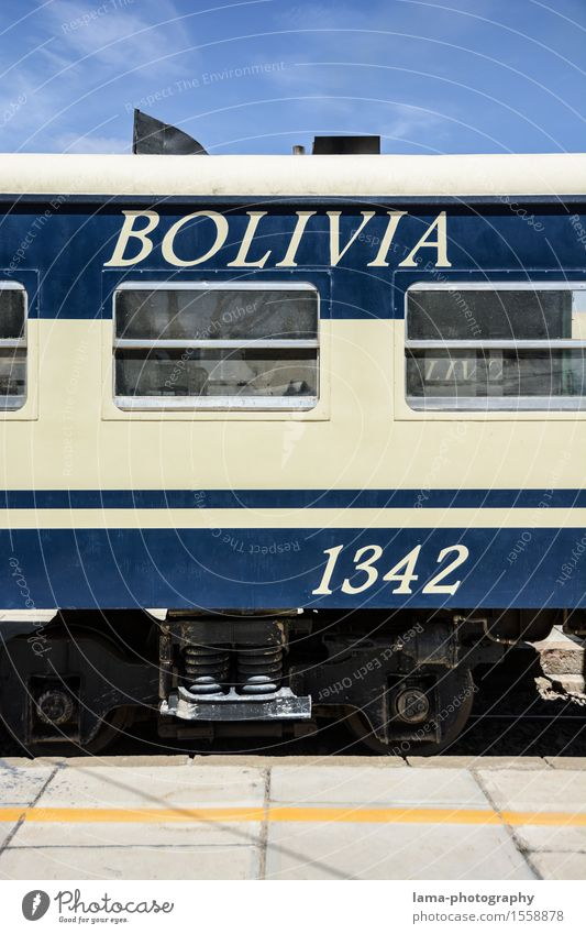 Blue Transport Railroad Passenger traffic Train station South America Train travel Rail transport Bolivia Passenger train Railroad system Dining car