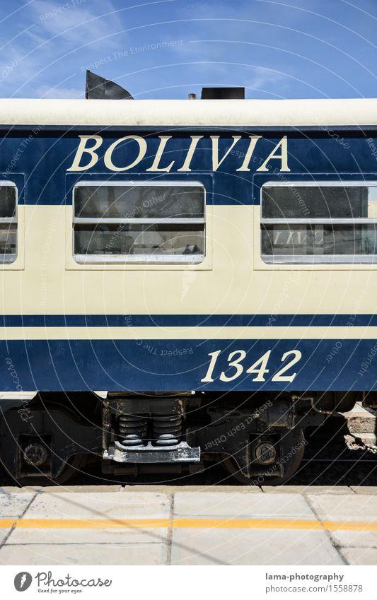 Blue Transport Railroad Passenger traffic Train station South America Train travel Rail transport Bolivia Passenger train Railroad system Dining car
