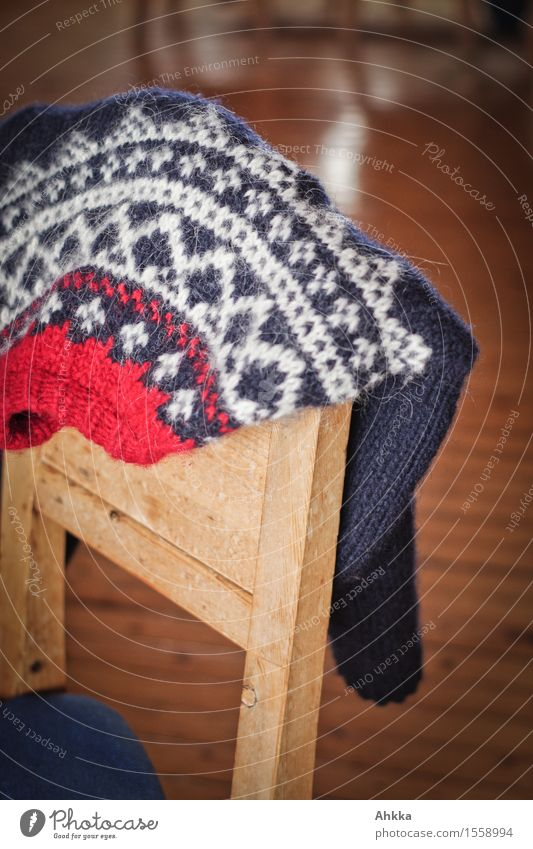 heat promise Wood Safety (feeling of) Warm-heartedness Calm Contentment Norway Pattern Sweater Chair Knitted sweater Knitting pattern Red Difference Blue White