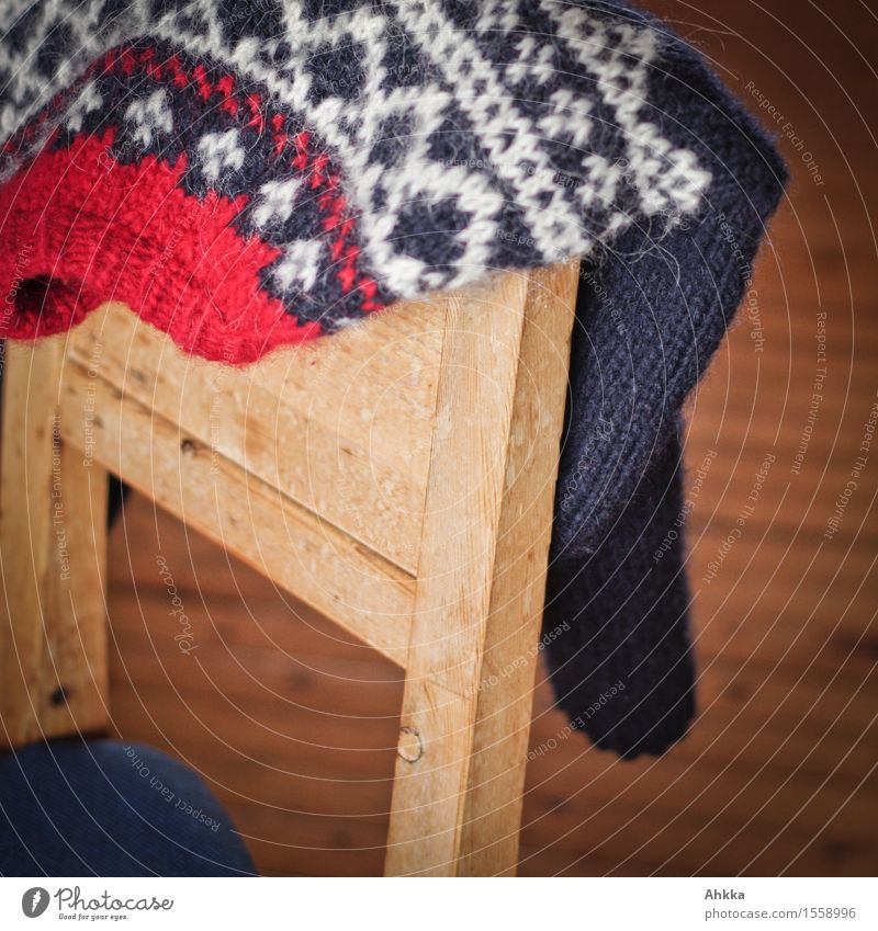 Blue White Relaxation Red Calm Warmth Wood Design Living or residing Chair Well-being Hang Cozy Sweater Nordic Winter vacation