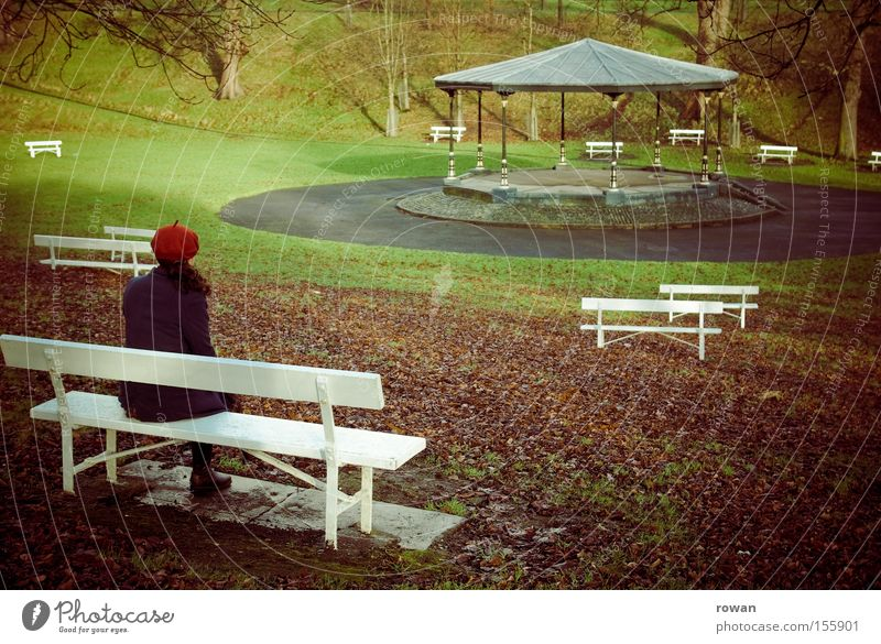 silent concert Bench Park Woman Winter Concert Pavilion Orchestra Calm Loneliness Think Stop short Autumn Grief Distress Transience Garden ponder
