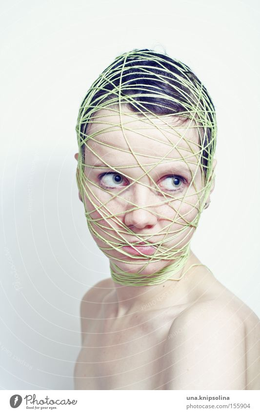 Woman Green Face Adults Emotions Head String Pure Net Whimsical Craft (trade) Shoulder Lie (Untruth) Coil Bound Handcrafts
