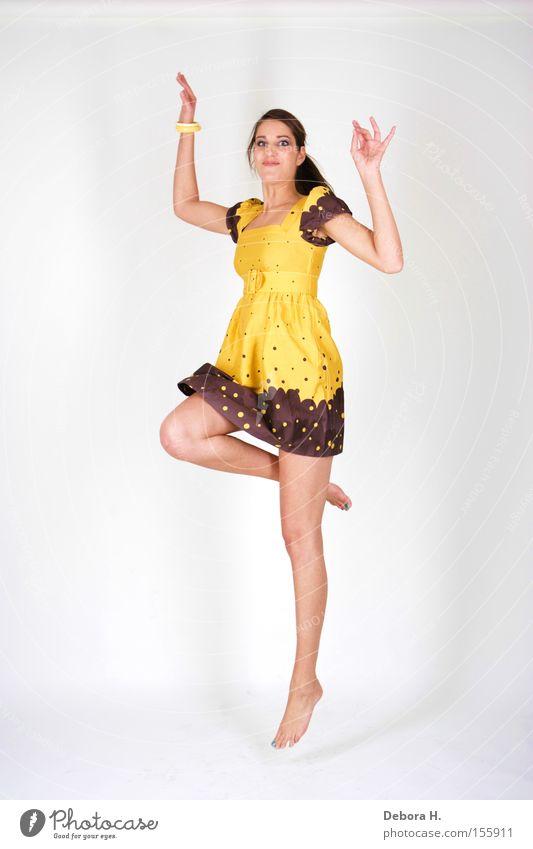 jump Woman Yellow Dress Joy Jump Legs Summer White