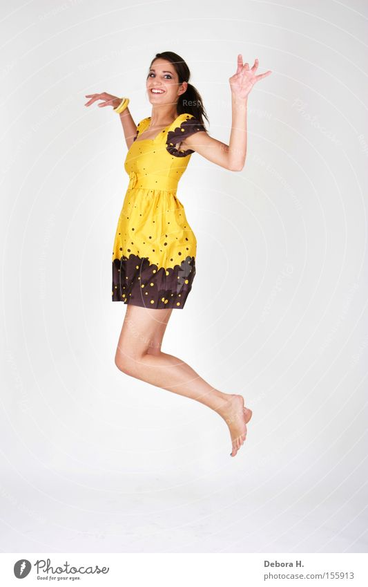 Woman White Summer Joy Yellow Jump Legs Dress Human being