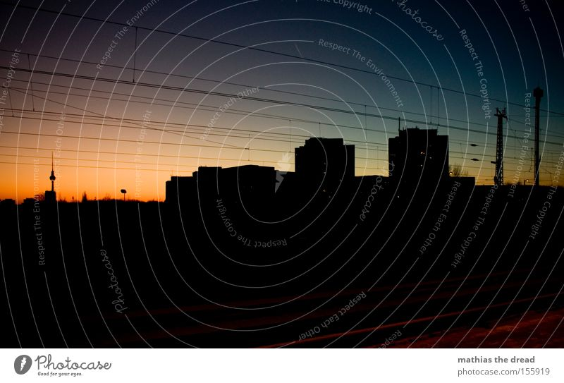 Beautiful Sky City Red Berlin Cable Sphere Idyll Monument Landmark Downtown Berlin Berlin TV Tower Television tower High voltage power line Alexanderplatz