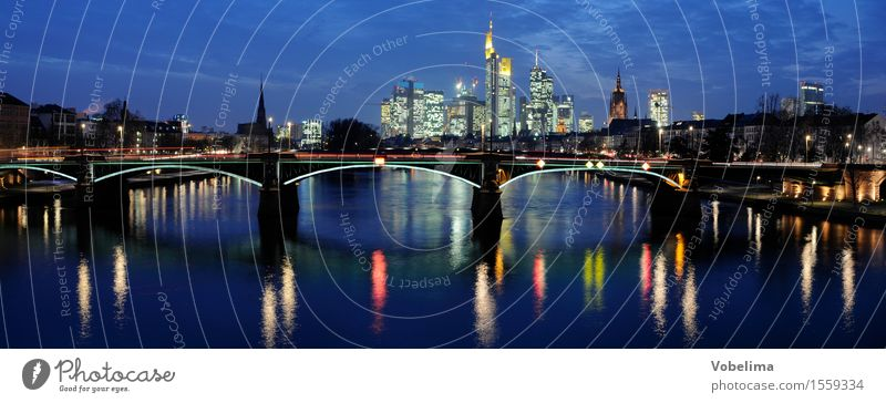 Frankfurt, evening River Town Skyline High-rise Bank building Church Dome Bridge Blue Brown Multicoloured Yellow Gold Gray Green Black Main City Dusk panorama