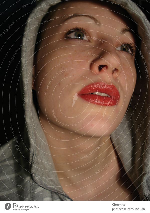 single effect Portrait photograph Face Red Lips Shadow Vail Hooded (clothing) Emotions Dream Desire Fantasy Lust Focal point Woman Concentrate Idea
