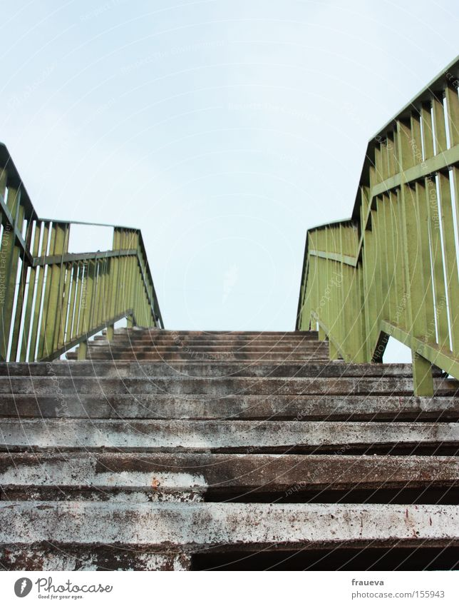 It's going up Stairs Handrail Banister Bridge railing Upward Sky Ascending Green Blue Gray Architecture Colour Europe